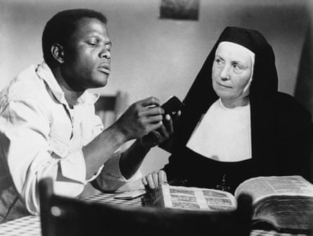 "Best actor … Sidney Poitier, with Lilia Skala in ""Lilies of the Field""."