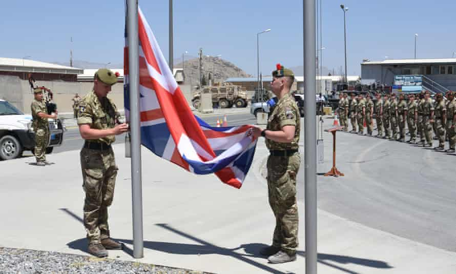 A British army flag-lowering ceremony in Afghanistan, 24 June 2021