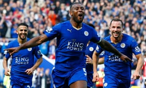 Wes Morgan leads the celebrations after scoring against Southampton