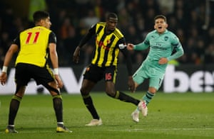 Lucas Torreira goes down again - this time fouled by Watford's Abdoulaye Doucoure.