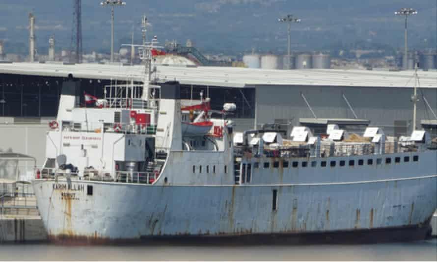 The cattle ship Karim Allah docked in Tarragona, Spain, 2020.