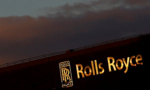 Rolls-Royce sign pictured as the sun sets over its factory at Debry, England