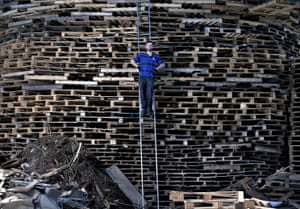 'Hurka', chief architect and builder of the Craigyhill bonfire, takes a break from stacking pallets