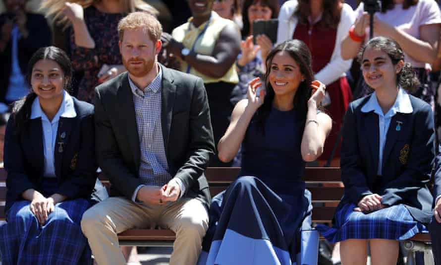 The royal couple during their visit to Macarthur girls high school in Sydney.
