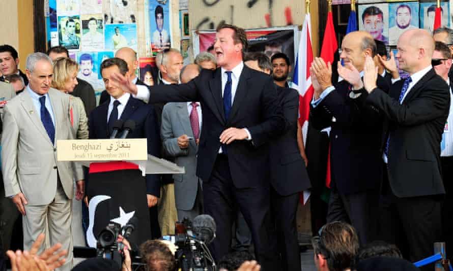 David Cameron addresses the crowds in Benghazi, Libya, following 2011's military operations against Muammar Gaddafi.