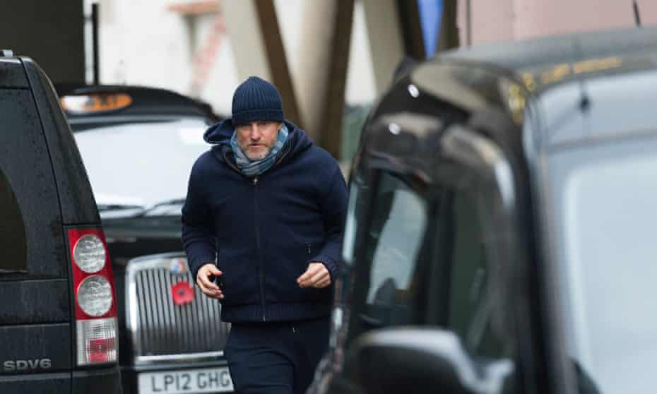 The chase is on … Woody Harrelson rehearsing Lost in London.