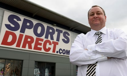 Mike Ashley outside Sports Direct HQ in Shirebrook, Derbyshire