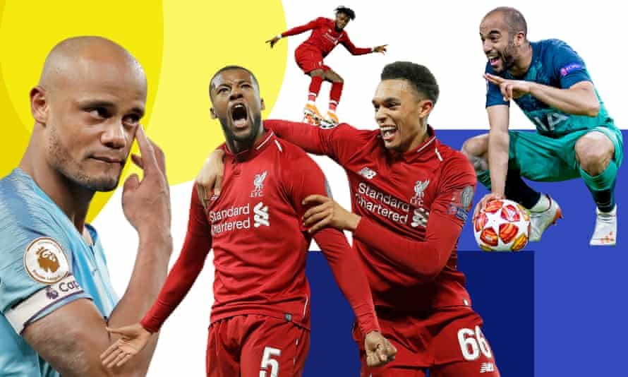 Manchester City captain Vincent Kompany, Georginio Wijnaldum with Trent Alexander Arnold after scoring Liverpool's third goal against Barcelona, Divock Origi in action during the same game and Tottenham's Lucas Moura celebrating after the Ajax game