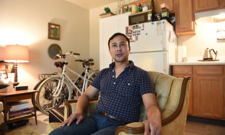 Greg Magofna in the 300 sq ft micro apartment he rents for $1,200. Frustrated by struggling to afford to live in East Bay, he formed his own yimby chapter.