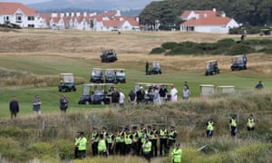 Donald Trump plays a round of golf on the Trump Turnberry resort in South Ayrshire.
