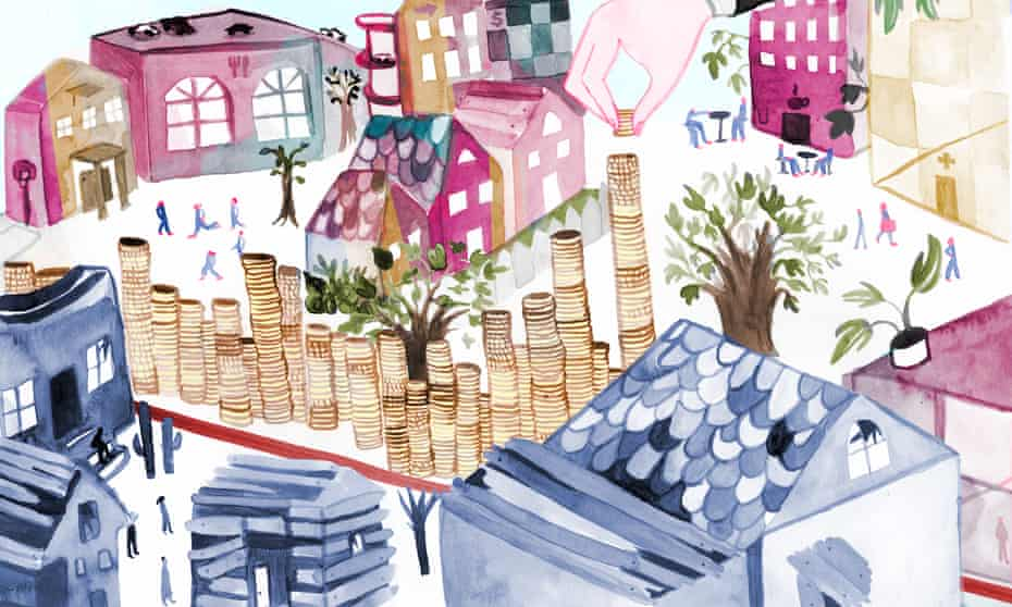 'Housing is central to the 'good life' in the United States.' Illustration by Alexandra Bowman for Guardian US