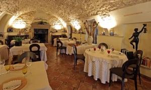 Restaurant at Hostaria Uva Rara, Lake Iseo, Italy.