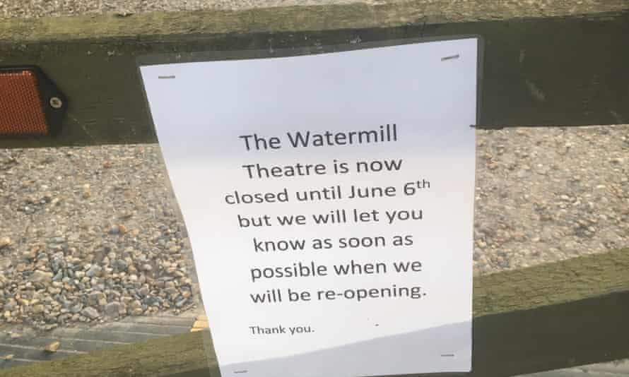 The show won't go on ... Watermill theatre closure notice, April 2020.