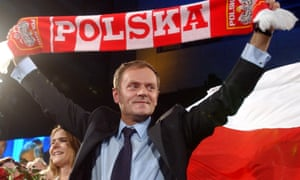 Donald Tusk celebrates the  first exit poll results, pointing to his party as the winner of the parliamentary elections, in Warsaw, Poland, Sunday, Oct.21, 2007