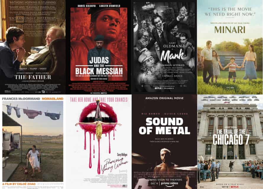 Oscar best picture nominees … some are streaming now, but The Father is not out until June and Promising Young Woman has no UK release date.