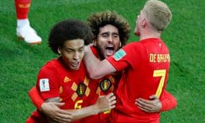 Marouane Fellaini (centre) celebrates scoring Belgium's equaliser against Japan in the last 16.