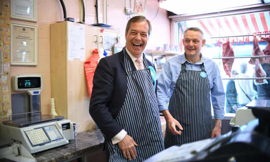 Brexit party leader Nigel Farage campaigning in South Ockendon.