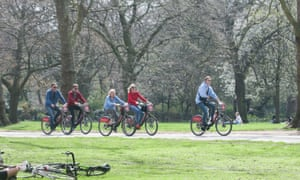 Cyclists in Hyde Park, London
