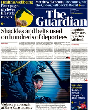 Guardian front page 12 August 2019