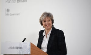 Theresa May delivers her Brexit speech<br>epa05724385 Britain's Prime Minister Theresa May delivers her keynote 'Brexit speech' at Lancaster House in London, Britain 17 January 2017. May was quoted as saying that staying in the single market would keep the UK under the influence of EU law, a move that would be contrary to the result of the referendum on 23 June 2016.  EPA/FACUNDO ARRIZABALAGA / POOL international pool