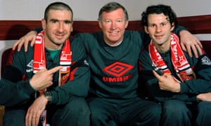 Alex Ferguson With Eric Cantona and Ryan Giggs in 1996.
