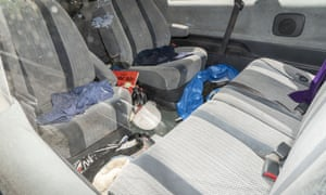 The inside of Johnson's car.