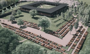 Artist rendering of The Memorial to Peace and Justice, which will contain two sets of columns inscribed with the names of more than 4,000 lynching victims. In total there will be more than 800 columns, one for each US county with a known lynching.