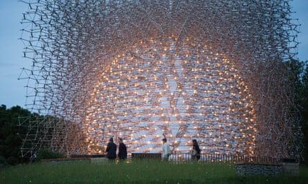 The Hive at Kew Gardens, at night
