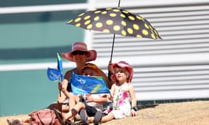 Supporters take shelter from the heat during the under-19 Cricket World Cup match between New Zealand and England in Queenstown.
