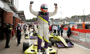 Celebrating victory in the W Series race at Brands Hatch last season.