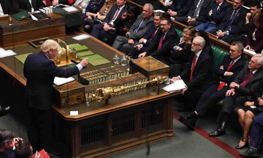 Boris Johnson addressing MPs in the House of Commons
