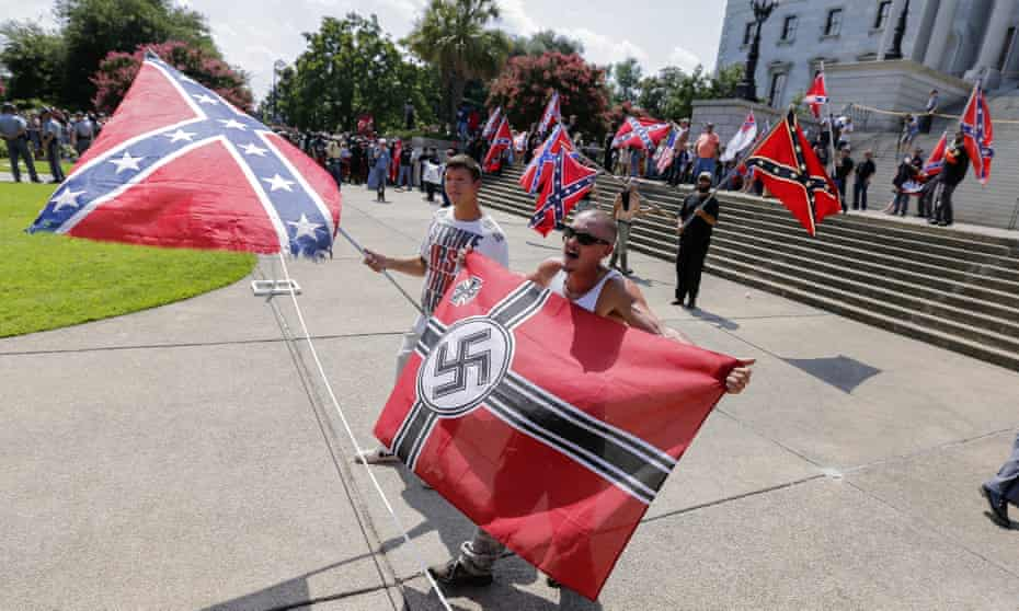Loyal White Knights and other white supremacists rally outside the South Carolina Capitol in Columbia, South Carolina in July 2015.