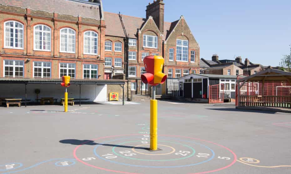Empty playground at a primary school in Homerton, London