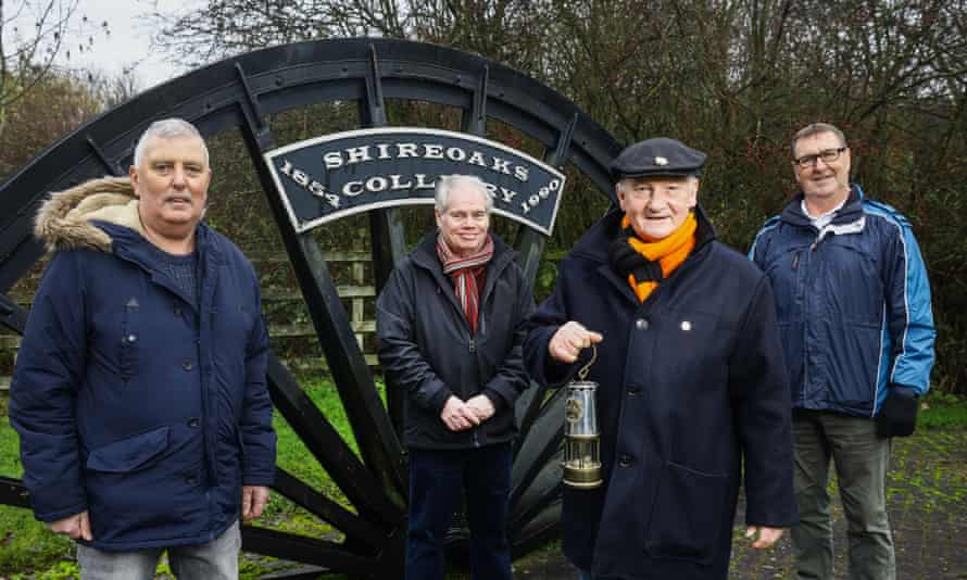 Ex-coal miners from the Shireoaks Colliery near Worksop in Nottinghamshire. From left: Adrian Gilfoyle, Phil Whitehead, George Bell (holding his original miner's lamp) and Dave Potts.