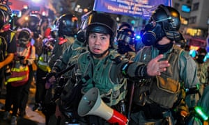 Police have fired tear gas, water cannon and pepper spray at protesters in Hong Kong.