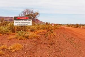 A sign warns of asbestos in Witenoom, Western Australia.