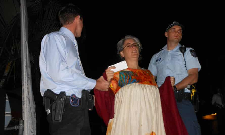 Margaret Pestorius being arrested a mayoral ball in Rockhampton to celebrate the Australia-US joint military exercises Talisman Sabre. She later received an apology.