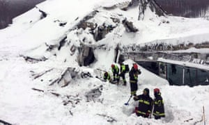 Rescuers at the scene of the avalanche last week