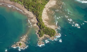 Aerial photo of Costa Rica Pacific Coast near Uvita.
