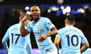 Raheem Sterling recreates injured team-mate Gabriel Jesus' goal celebration after his quickfire opening goal.