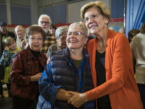 Iowa, US Senator Elizabeth Warren meets students and local residents in the college town of Grinnell