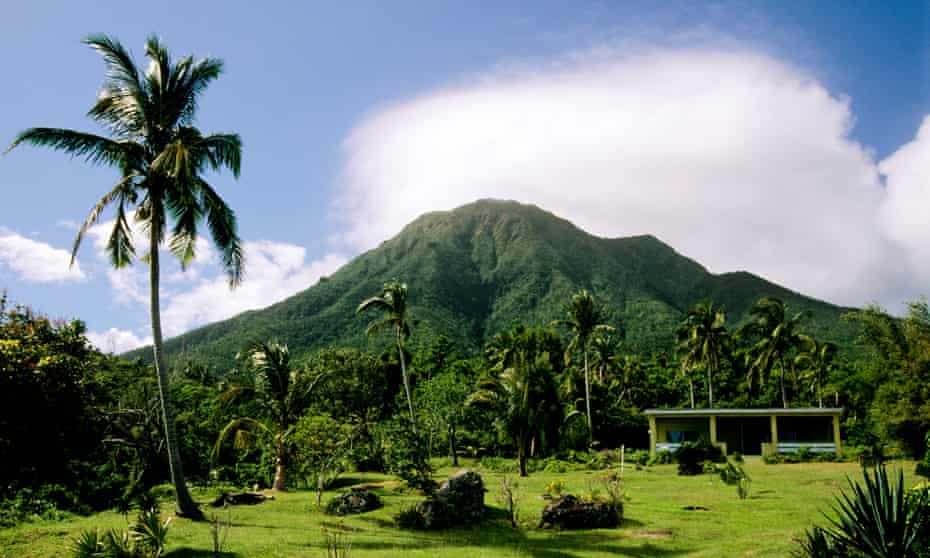 Nevis, looking up at the volcano.