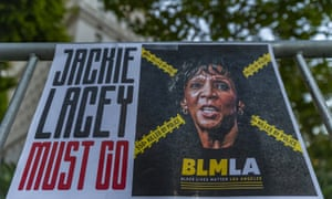A banner posted by Black Lives Matter Los Angeles calls for Jackie Lacey's ouster.