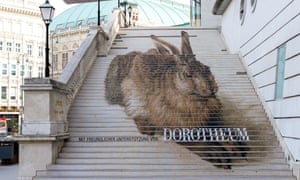 An image of Young Hare painted on the steps at the Museum Albertina.