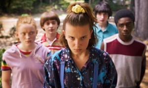 Caleb McLaughlin, Sadie Sink, Millie Bobby Brown, Finn Wolfhard and Noah Schnapp in Stranger Things - season 3.
