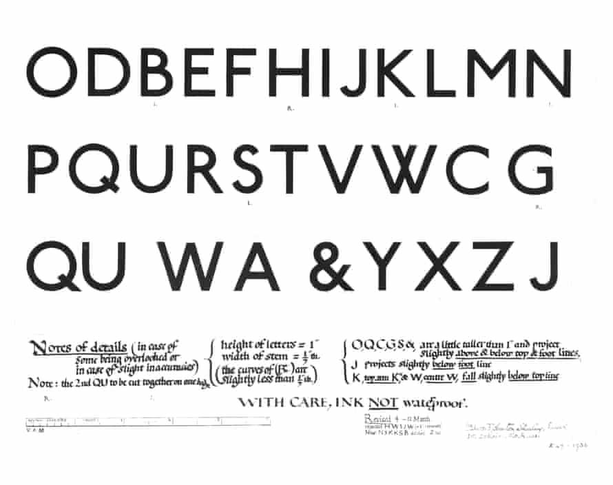 Edward Johnston's Design for an alphabet (1916).
