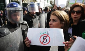 Algerian lawyers stage a protest march against Abdelaziz Bouteflika standing for a fifth term