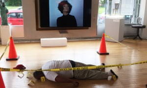 Art installation at the Guichard Gallery Chicago showing a representation of the body of Michael Brown by Ti-Rock Moore.