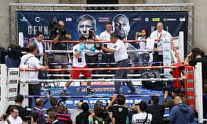 Gennady Golovkin, left, spars with his trainer Abel Sanchez during a public workout in Covent Garden on Tuesday