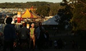 festivalgoer sporting a cheeky mankini